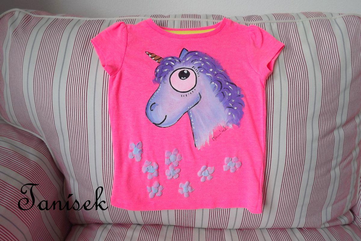 """Růžové tričko s modrofialovým jednorožcem velikost 92 Veronika """"Tanísek"""" Kocková"""