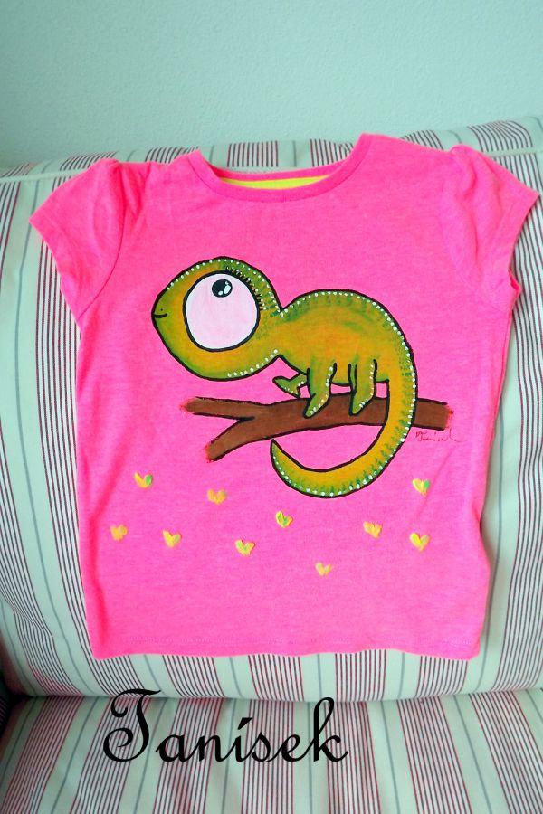 """Růžové tričko se zeleným Chameleonem velikost 98 Veronika """"Tanísek"""" Kocková"""