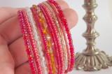"""Skleněný náramek s korálky v červených odstínech - paměťový drát, ohňovky, třpytivý, lesklý, červená, žlutá, oranžová Veronika """"Tanísek"""" Kocková"""