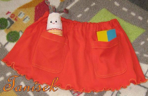Sukýnka sukně šitá - bavlněný úplet, lemována žlutě, kapsy, kapsičky, do školky, pro miminko, velikost uni do 3 let věku Ateliér Na Rynku