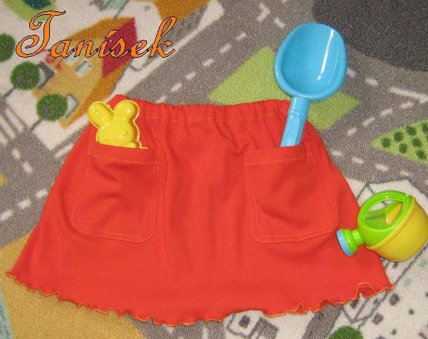 Sukýnka sukně šitá - bavlněný úplet, lemována žlutě, kapsy, kapsičky, do školky, pro větší holčičku, velikost uni do 7 let věku, 98, 104, 110, 116 Ateliér Na Rynku
