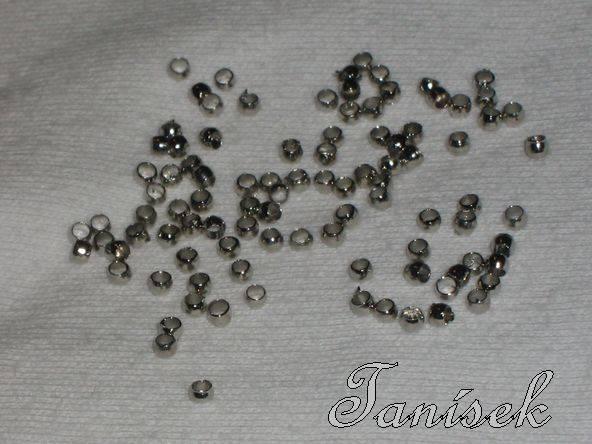 1g - cca 100ks - platina zamačkávací rokajl - kov, výroba šperků, rokail,