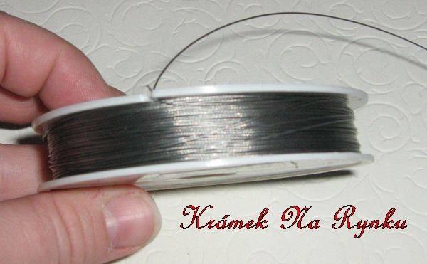 Nylonové lanko k výrobě šperků - návlekový materiál - stříbrná - klasické - klasika