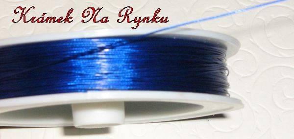 Modré nylonové lanko k výrobě šperků