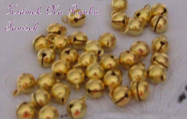 Malinká, minirolnička, zlaté, kov, cinkající, zvonící, roztomilá, vhodná pro výrobu šperků, dekorací, práci s Fimem, cardmaking, scrapbook