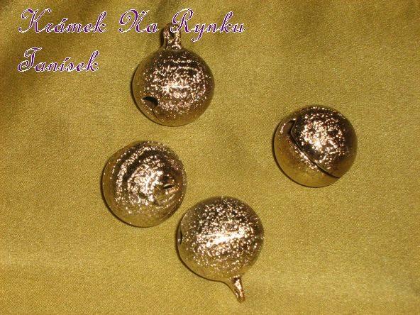 Elegantní kovová rolnička - zlatá barva, drsný povrch, starozlatá, vintage
