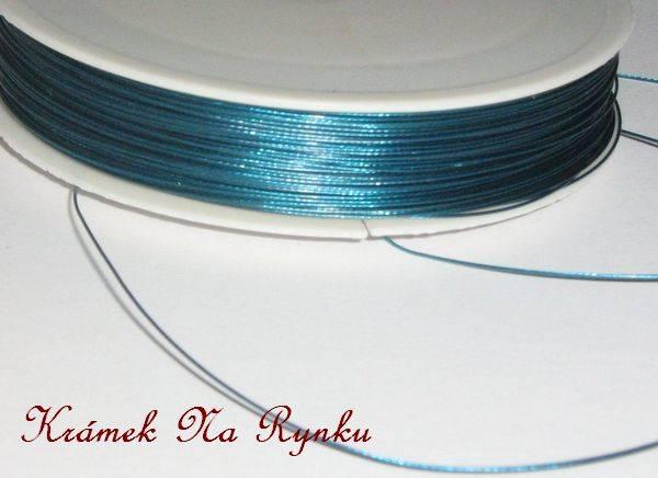 Nylonové lanko k výrobě šperků - návlekový materiál - zelenomodré - tyrkysové
