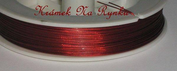 Nylonové lanko k výrobě šperků - návlekový materiál -červená - červené