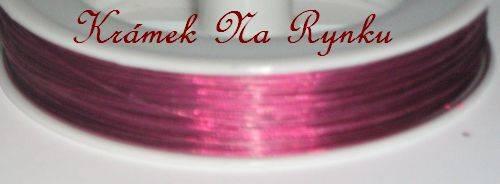 Nylonové lanko k výrobě šperků - návlekový materiál - purpurové - tmavorůžové