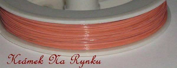 Nylonové lanko k výrobě šperků - návlekový materiál - lososové, pastelové, oranžové, růžové, pastel