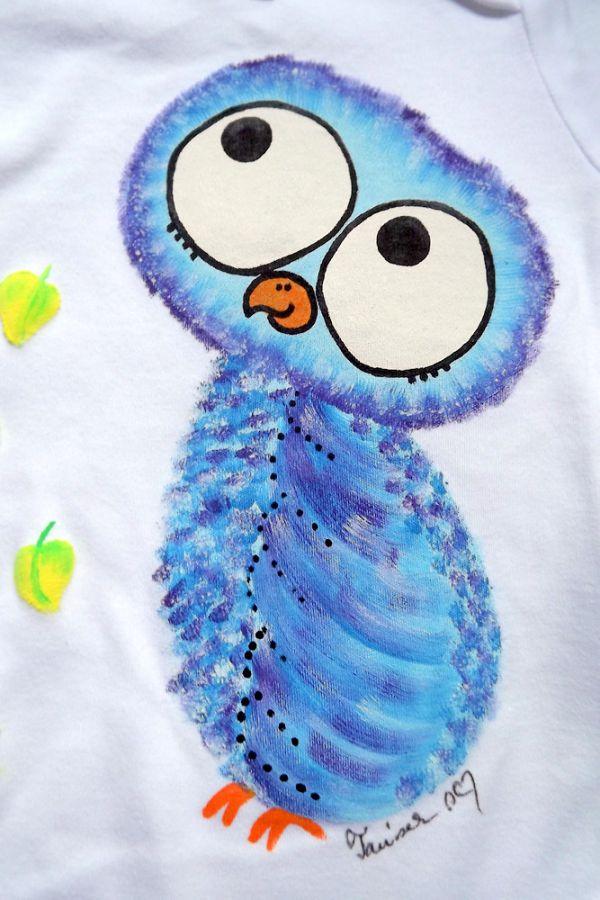 """Bílé body s dlouhým rukávem ručně namalovaná fialovo modrá moudrá sova Veronika """"Tanísek"""" Kocková"""