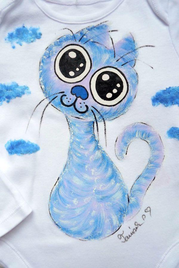 """Ručně malované bílé body s dlouhým rukávem - modrofialová veselá okatá kočka kočička Veronika """"Tanísek"""" Kocková"""
