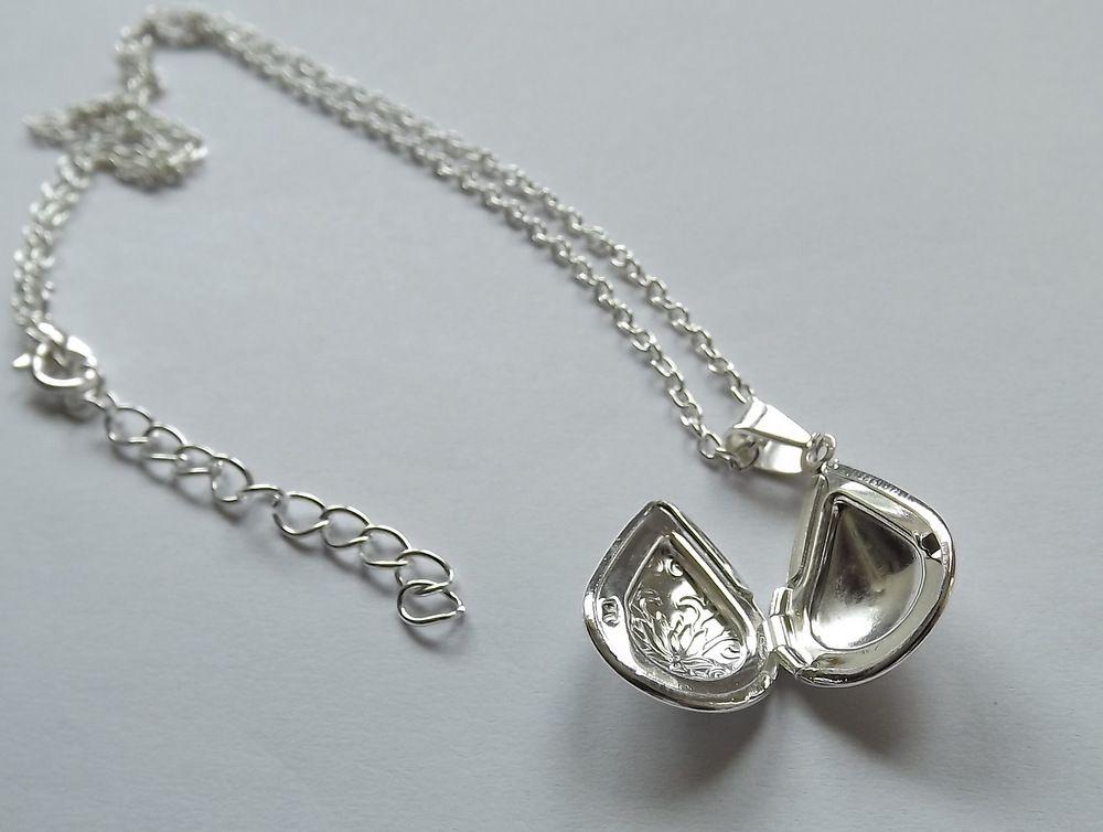 Medailonek s řetízkem Kapka - kov - stříbrná barva, řetízek, přívěsek, otevírací na fotku, přání