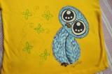 """Modrá sova na žlutém tričku s krátkým rukávem Veronika """"Tanísek"""" Kocková"""