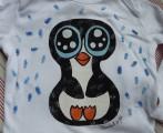 """ručně malovaný tučňák - cute, roztomilý, pro děti - bílé body 100% bavlna, dlouhý rukáv, velikost 74, 6-9 měsíců Veronika """"Tanísek"""" Kocková"""