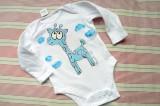"Ručně malované bílé body s dlouhým rukávem - fialovo modrá žirafa žirafka velikost 68 Veronika ""Tanísek"" Kocková"
