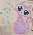 """Růžová kočka na růžovém 100% bavlněném tričku ručně malované - velikost xS Veronika """"Tanísek"""" Kocková"""
