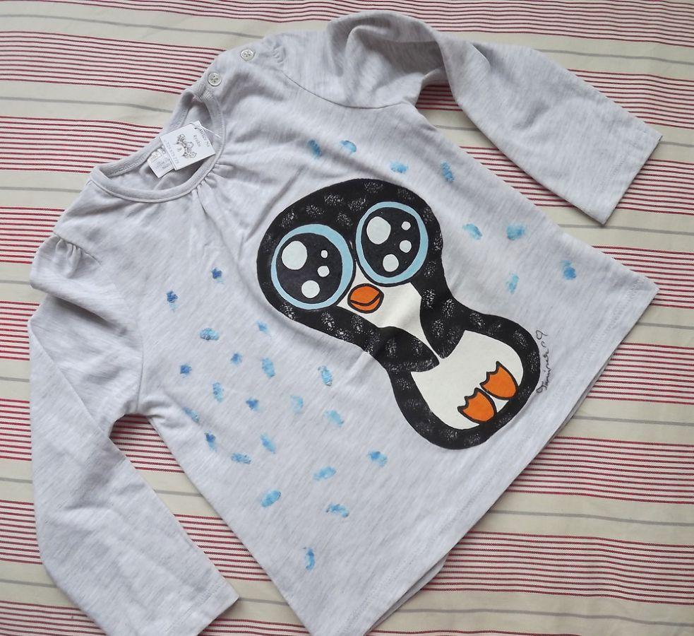"""Šedé melírované tričko s báječným roztomilým ptákem tučňákem Veronika """"Tanísek"""" Kocková"""