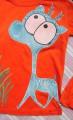 """Modrý jelen ručně namalovaný - 100% bavlněné oranžové tričko s dlouhým rukávem - velikost 140 Veronika """"Tanísek"""" Kocková"""