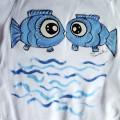 """100% bavlna - Bílé body dlouhý rukáv velikost 86 - ručně malované ryby - modré, plastické 3D vlnky Veronika """"Tanísek"""" Kocková"""