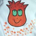 """Bílé body s dlouhým rukávem 100% bavlněné, ručně malované - oranžová střapatá cibulka, příšerka, velikost 80, 9-12 měsíců staré miminko Veronika """"Tanísek"""" Kocková"""