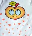 """Bílé body s krátkým rukávem 100% bavlněné, ručně malované - oranžové jablíčko velikost 80 9-12 měsíců staré miminko Veronika """"Tanísek"""" Kocková"""