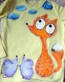 """Žluté triko dlouhý rukáv 100% bavlna - ručně malované - liška a myška, myšky, cute, 3D obláčky Veronika """"Tanísek"""" Kocková"""
