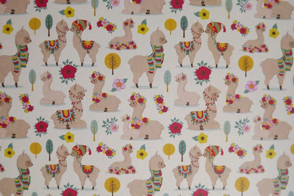 Fotokarton - papír, potisk lama, Lamy, oboustranný 300g - vhodný na scrapbook, cardmaking, koláže, A4, rozdílné strany, kytky, kytičky, květiny, barevný, veselý