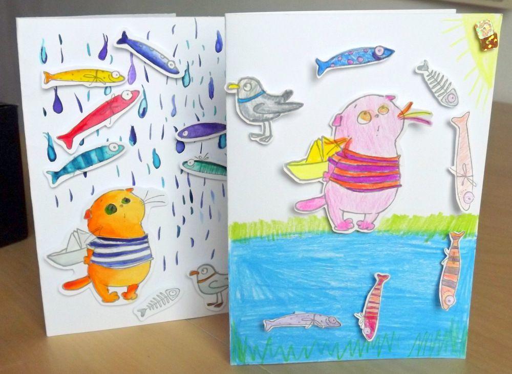 """Kocour rybář - sada na scrapbook pro děti i dospělé - vhodné na dílnu, workshop, jednoduché, třpytky, obálka, do školy, do školky, družiny, DIY, Veronika """"Tanísek"""" Kocková"""