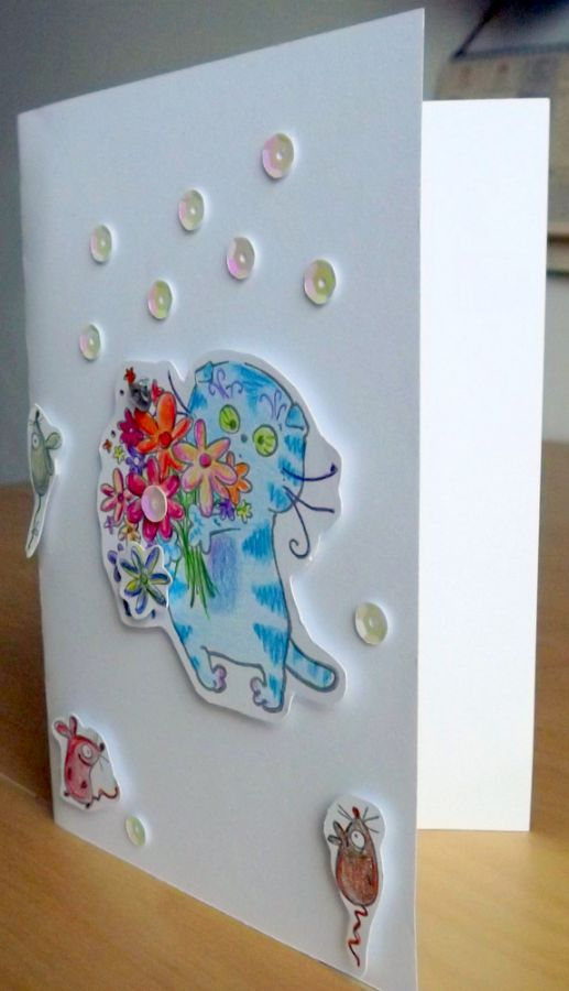 """Kocour gratulant - sada na cardmaking pro děti i dospělé, DIY, veselé, zábavné tvoření, zdokonalování jemné motoriky, třpytky, kočka, dárek, kočička, květiny Veronika """"Tanísek"""" Kocková"""