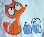 """Liška a myška (myšky) ručně malované - bílé body s krátkým rukávem 100% bavlna, pro kluka, holku velikost 74 Lištička, myš Veronika """"Tanísek"""" Kocková"""