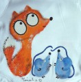 """Liška a myška (myšky) ručně malované - bílé body s dlouhým rukávem 100% bavlna, pro kluka, holku velikost 62 Lištička, myš Veronika """"Tanísek"""" Kocková"""