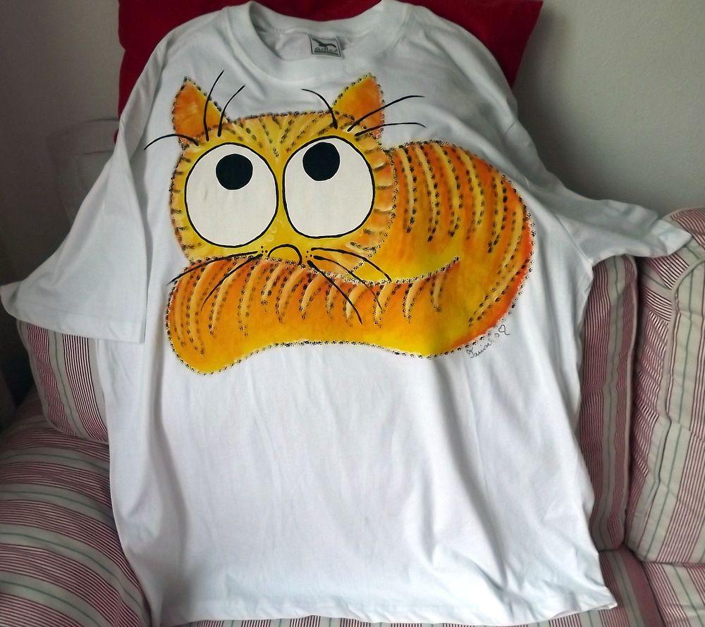 """Žlutá ležící kočka - bílé 100% bavlněné tričko - krátký rukáv - ručně namalované Veronika """"Tanísek"""" Kocková"""