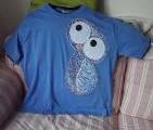 """Veselá moudrá sova sovička - modré tričko 100% bavlna - ručně malovaná - velikost 2XL ( XXL ) Veronika """"Tanísek"""" Kocková"""