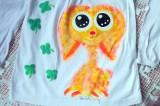 """Žlutý, oranžový králíček Teddy beránek ručně namalovaný na bílém 100% bavlněném tričku - velikost 104 dívčí pro holčičku Veronika """"Tanísek"""" Kocková"""