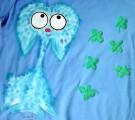 """Modrý chlupatý králík - Teddy beran - Modré tričko ručně malované s krátkým rukávem 100% bavlna - velikost 128 střih unisex, čtyřlístky plastické, cute, dvojitý efekt - u krku a rukávů lemované černě Veronika """"Tanísek"""" Kocková"""