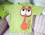 """Roztomilý tygr kočka - 100% bavlněné zelené tričko ručně malované s krátkým rukávem - velikost L Veronika """"Tanísek"""" Kocková"""
