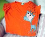 Zvětšit fotografii - Modrý jelen na oranžovém XXL dámské