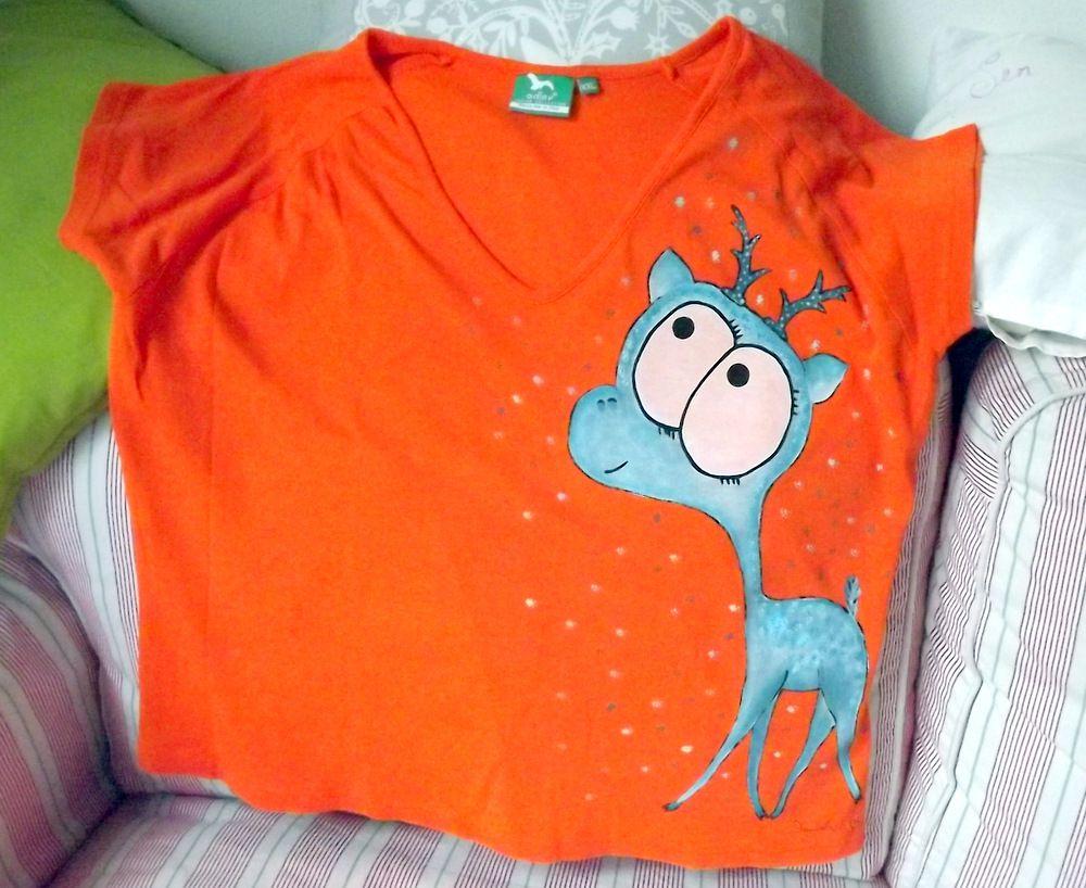 """Modrý jelen - 100% bavlněné oranžové tričko ručně malované s krátkým rukávem - velikost XXl dámské Veronika """"Tanísek"""" Kocková"""