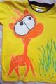 """Oranžový jelínek - 100% bavlněné žluté tričko ručně malované s krátkým rukávem - velikost 116 Veronika """"Tanísek"""" Kocková"""
