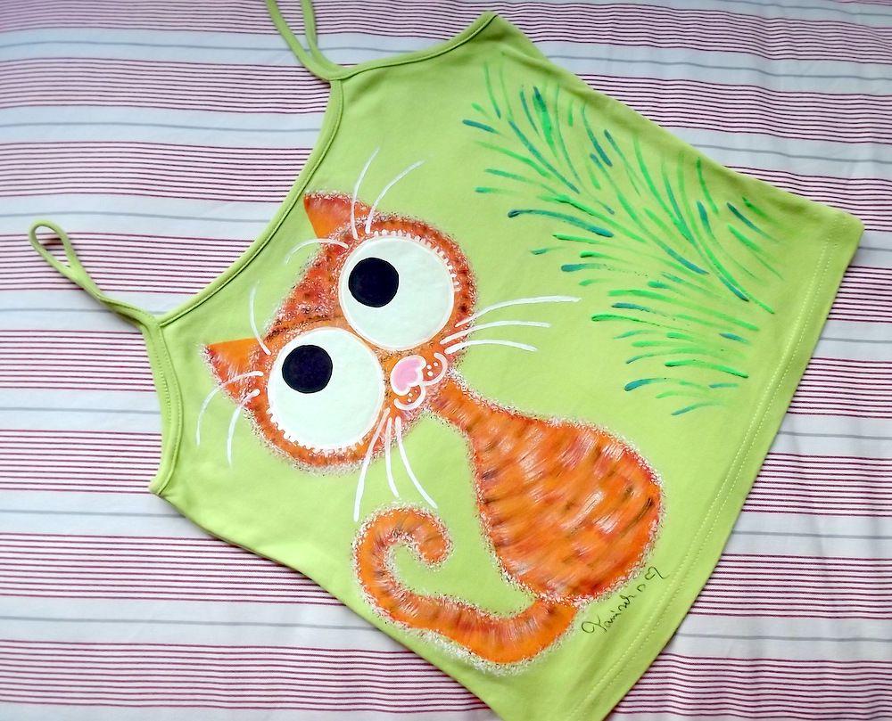 """Oranžovo černá kočka na zeleném 100% bavlněném tílku se špagetovými ramínky - ručně malované - velikost M Veronika """"Tanísek"""" Kocková"""