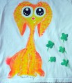 """žlutý - oranžový králík Teddy beran ručně namalovaný na bílém 100% bavlněném tričku -dvojitý efekt - krk a rukávy lemované červeně s krátkým rukávem- velikost 128 střih unisex, čtyřlístky plastické Veronika """"Tanísek"""" Kocková"""