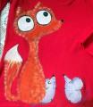 """Červené triko dlouhý rukáv 100% bavlna - ručně malované - liška a myška, myšky, cute Veronika """"Tanísek"""" Kocková"""