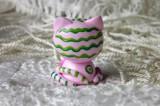 """Mutipoň pastelově růžový - jahodový - fimo - kočka kočička kocour tygr - ručně modelovaný a malovaný pro radost, pro štěstí Do dlaně Veronika """"Tanísek"""" Kocková"""