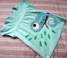 """Modrý tyrkysový chameleon - ručně malovaný - 100% bavlněné zelenomodré tričko - velikost 116 Veronika """"Tanísek"""" Kocková"""