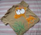"""Oranžový jelen - 100% bavlněné hnědé tričko ručně malované s krátkým rukávem - velikost 104 Veronika """"Tanísek"""" Kocková"""