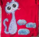 """Ručně malované 100% bavlněné tričko - rozkošná fialová kočka namalovaná- velikost 98, dlouhý rukáv Veronika """"Tanísek"""" Kocková"""