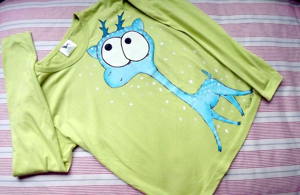 """Modrý jelen - 100% bavlněné zelené tričko ručně malované s dlouhým rukávem - velikost 140 Veronika """"Tanísek"""" Kocková"""