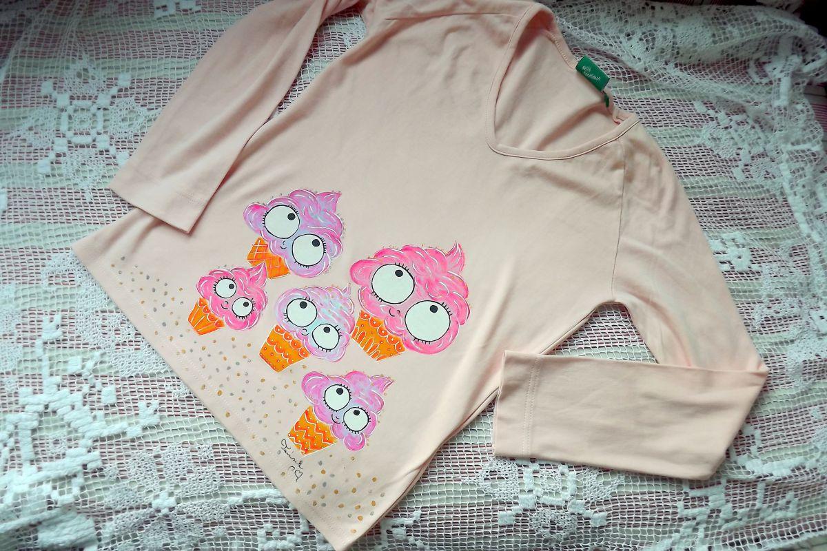 """Tričko triko světle růžové, dlouhý rukáv 100% bavlna - ručně malované - zrmzlina, zmrzliny, zmrzlinky - sladké, veselé, okaté, cute velikost M Veronika """"Tanísek"""" Kocková"""