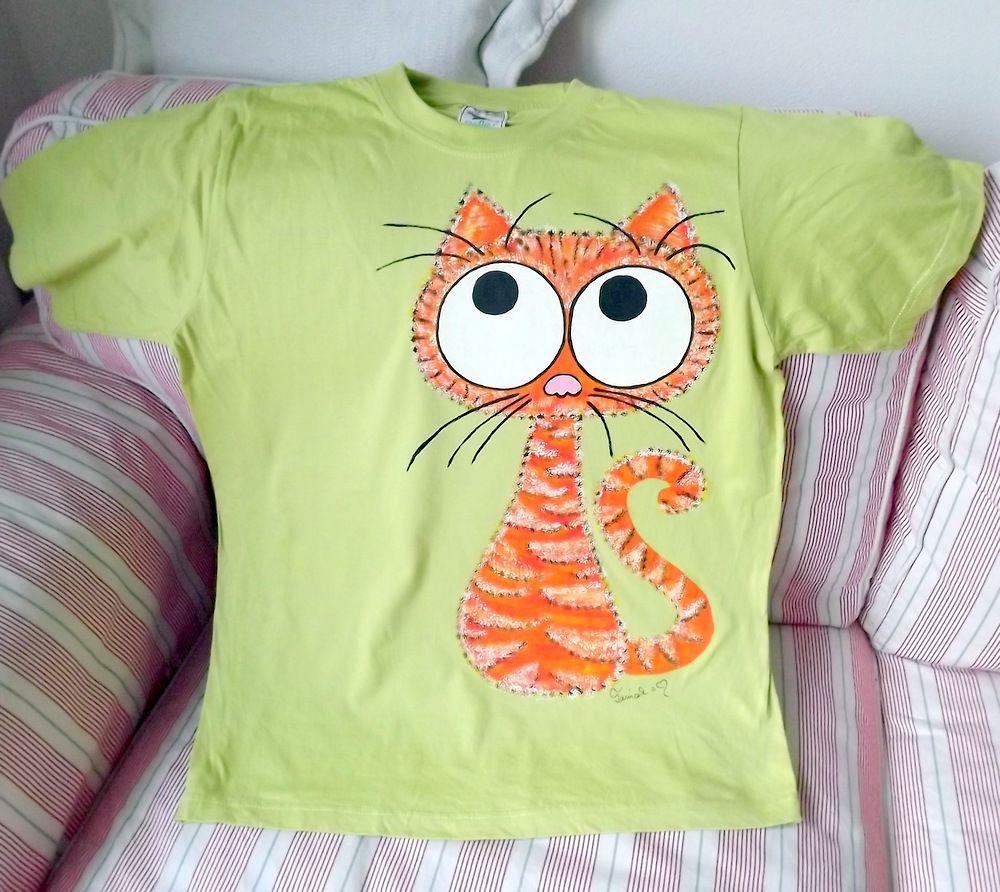"""Oranžová střapatá kočka ručně namalovaná - zelené 100% bavlněné tričko - krátký rukáv Veronika """"Tanísek"""" Kocková"""